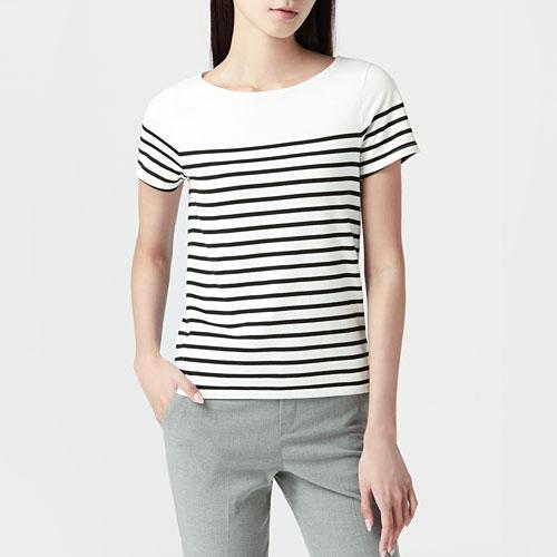 純棉條紋短袖T恤-女