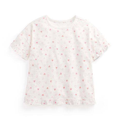竹節棉荷葉袖T恤-童