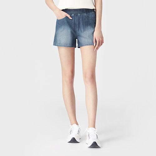 牛仔鬆緊短褲-女