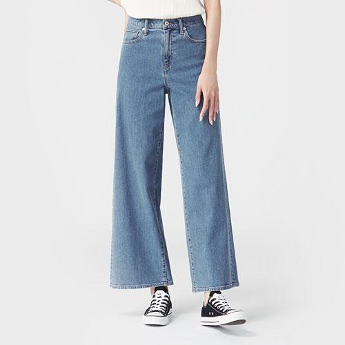 高腰牛仔寬褲-女