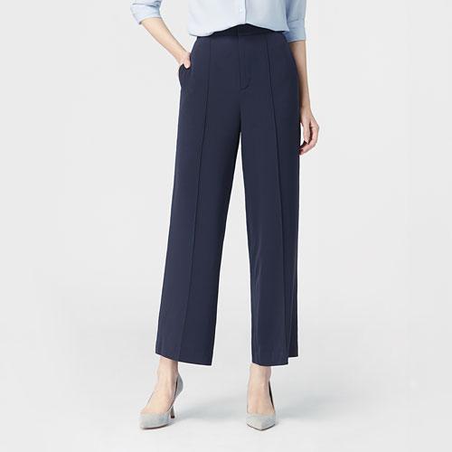 高腰寬版直筒褲-女