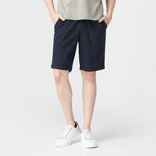 棉麻鬆緊短褲-男