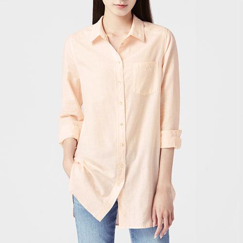 棉麻長袖長版襯衫-女