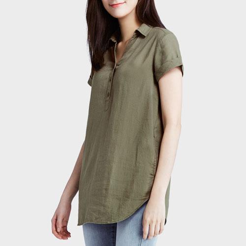 竹節棉短袖長版襯衫-女