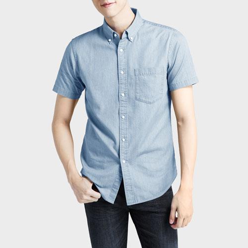牛仔短袖襯衫-男