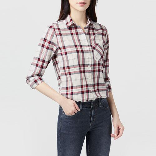 輕薄格紋長袖襯衫-女