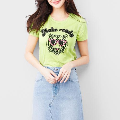 老虎印花T恤-女