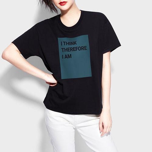 寬版文字印花T恤-女
