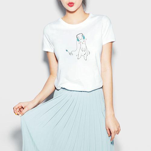 音樂兔印花T恤-女