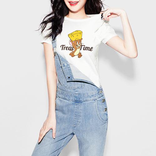 Tom & Jerry印花T恤-01-女