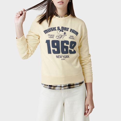 史努比刷毛圓領衫-10-女