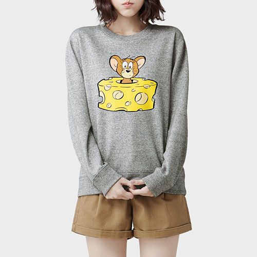 Tom & Jerry刷毛圓領衫-03-女