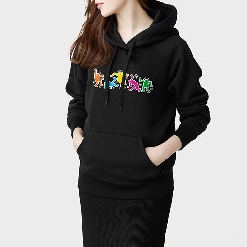 Keith Haring刷毛連帽衫-04-女