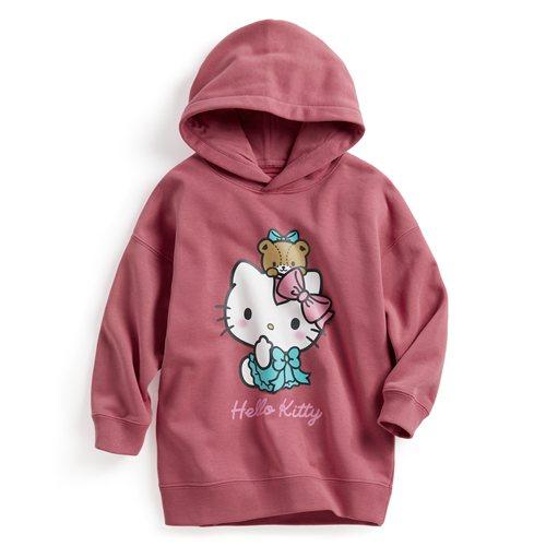 Hello Kitty毛圈長版連帽衫-02-童