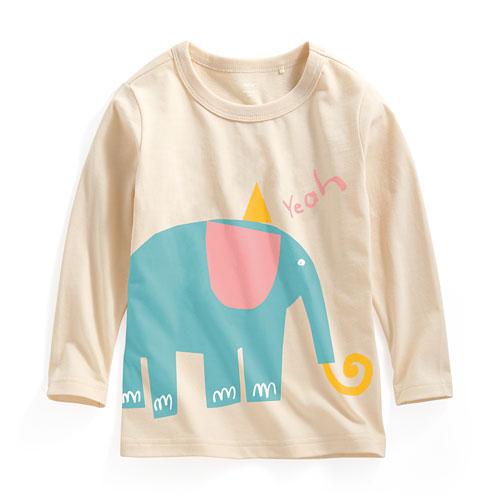 大象長袖印花T恤-童