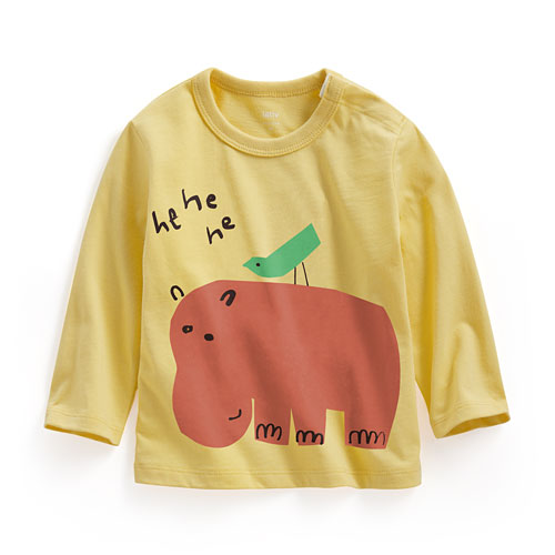 河馬長袖印花T恤-Baby