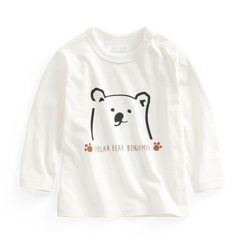 Polar Bear Benjamin長袖印花T恤-01-Baby