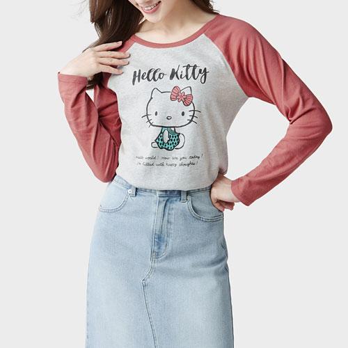 Hello Kitty拉克蘭長袖印花T恤-05-女