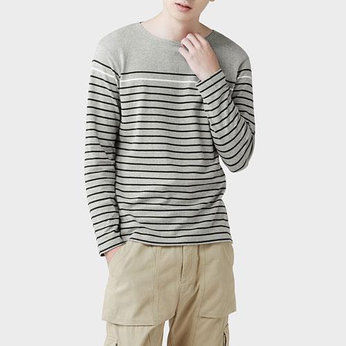 粗紡純棉條紋長袖上衣-男