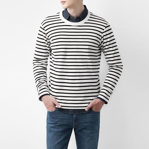 粗紡純棉條紋圓領長袖T恤-男