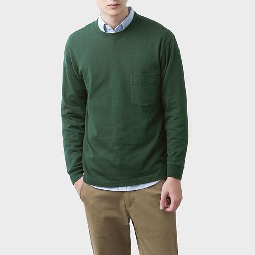 粗紡純棉圓領口袋長袖T恤-男