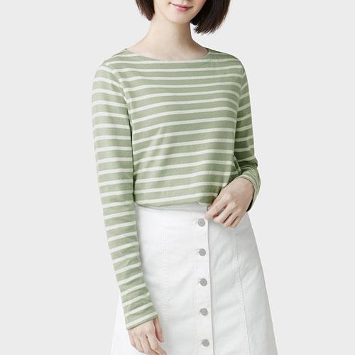 粗紡純棉條紋船型領長袖T恤-女