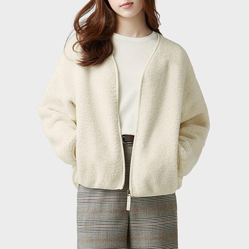 毛絨V領開襟外套-女