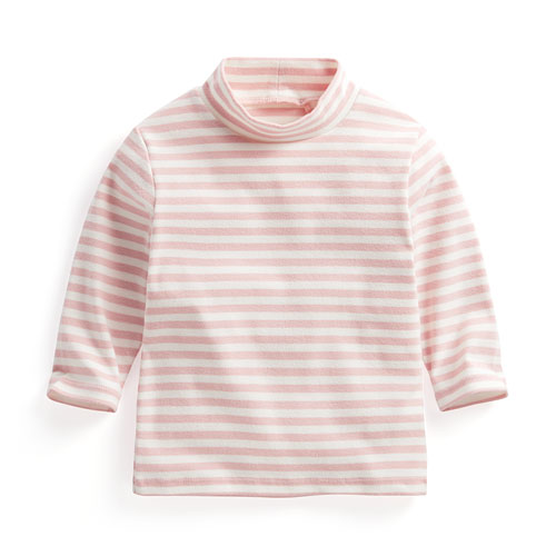 磨毛羅紋條紋立領T恤-Baby