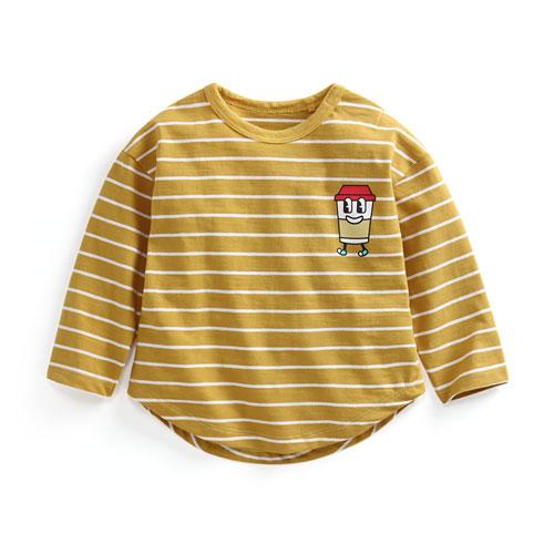 竹節棉條紋印花上衣-01-Baby