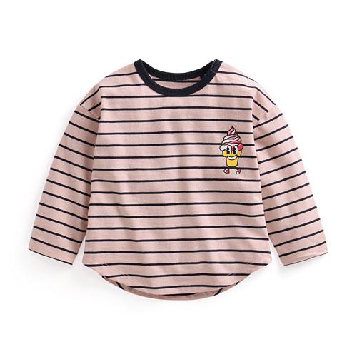 竹節棉條紋印花上衣-02-Baby