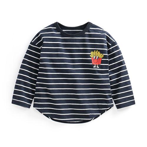 竹節棉條紋印花上衣-03-Baby