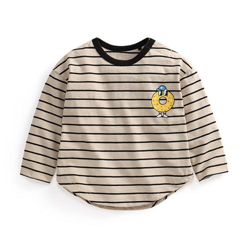 竹節棉條紋印花上衣-04-Baby