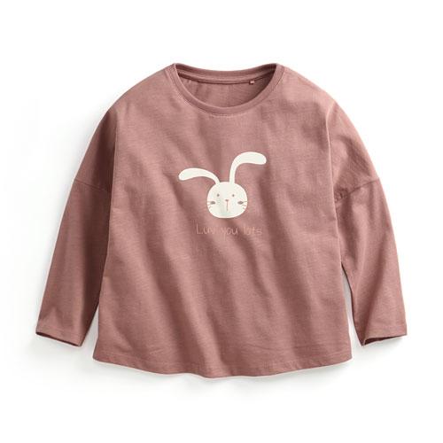 竹節棉寬鬆印花T恤-03-童