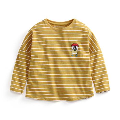 竹節棉條紋印花T恤-01-童