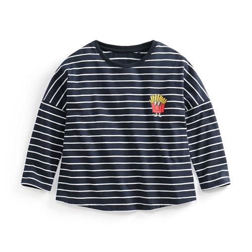 竹節棉條紋印花T恤-03-童