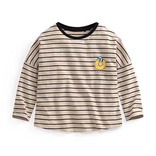 竹節棉條紋印花T恤-04-童