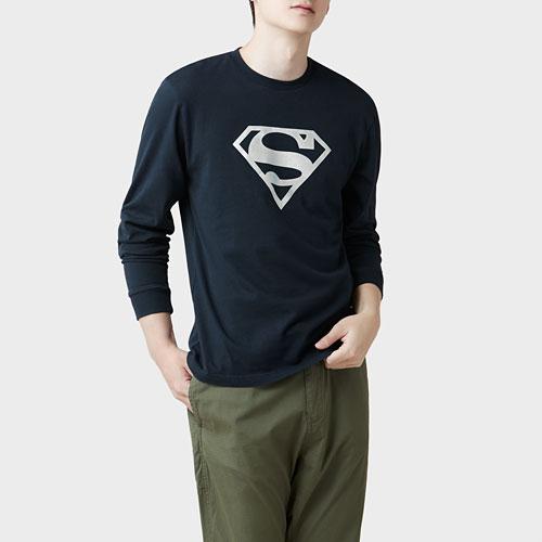 Superman長袖印花T恤-03-男