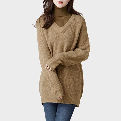 粗針V領長版毛衣-女