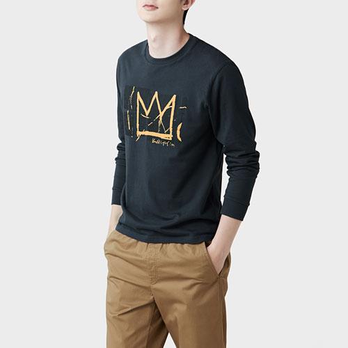 Jean-Michel Basquiat長袖印花T恤-01-男