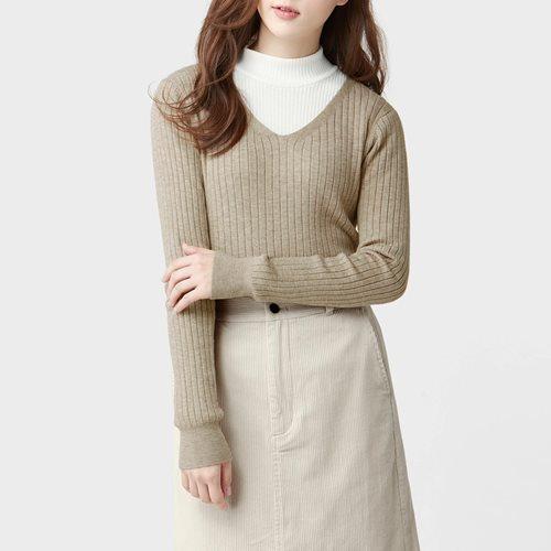 柔軟V領羅紋毛衣-女