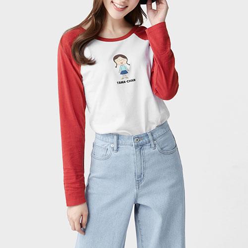 櫻桃小丸子拉克蘭長袖印花T恤-04-女