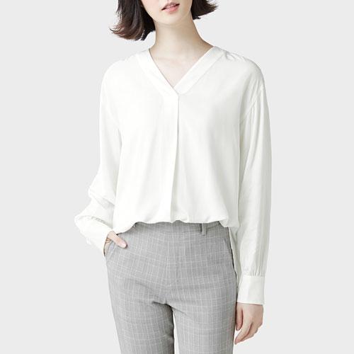 嫘縈V領寬版襯衫-女