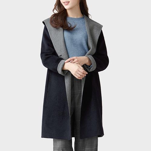 雙色織紋羊毛混紡大衣-女