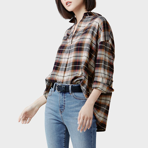 法蘭絨寬版襯衫-女