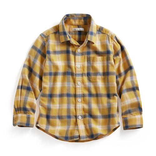 法蘭絨格紋襯衫-童