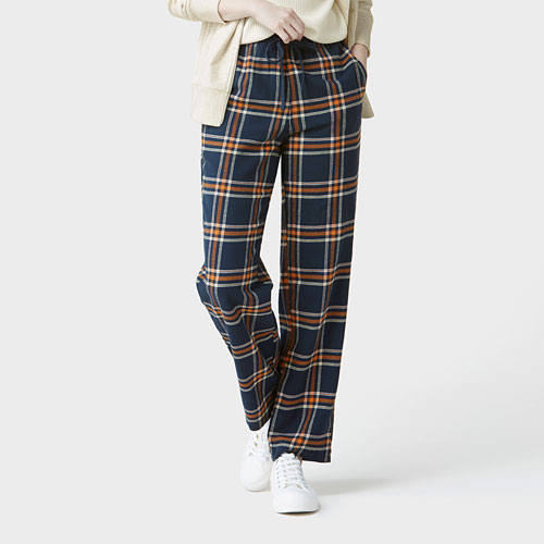 法蘭絨格紋長褲-女