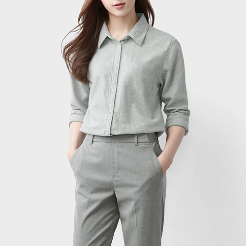 法蘭絨長袖襯衫-女