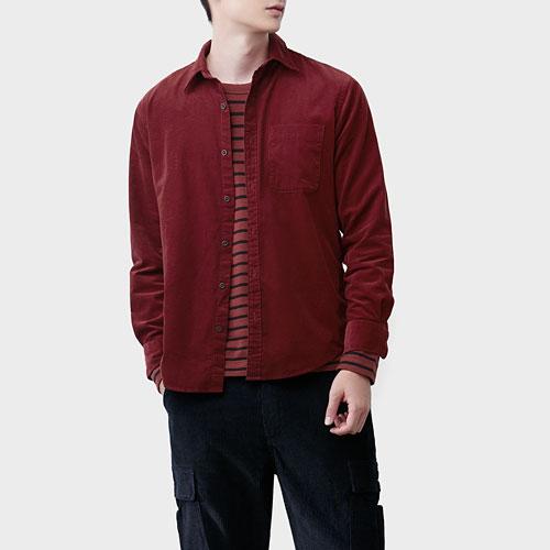 燈芯絨長袖襯衫-男