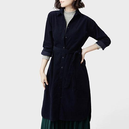 燈芯絨襯衫式洋裝-女