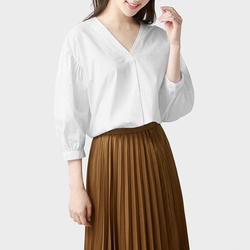 柔棉V領七分袖襯衫-女